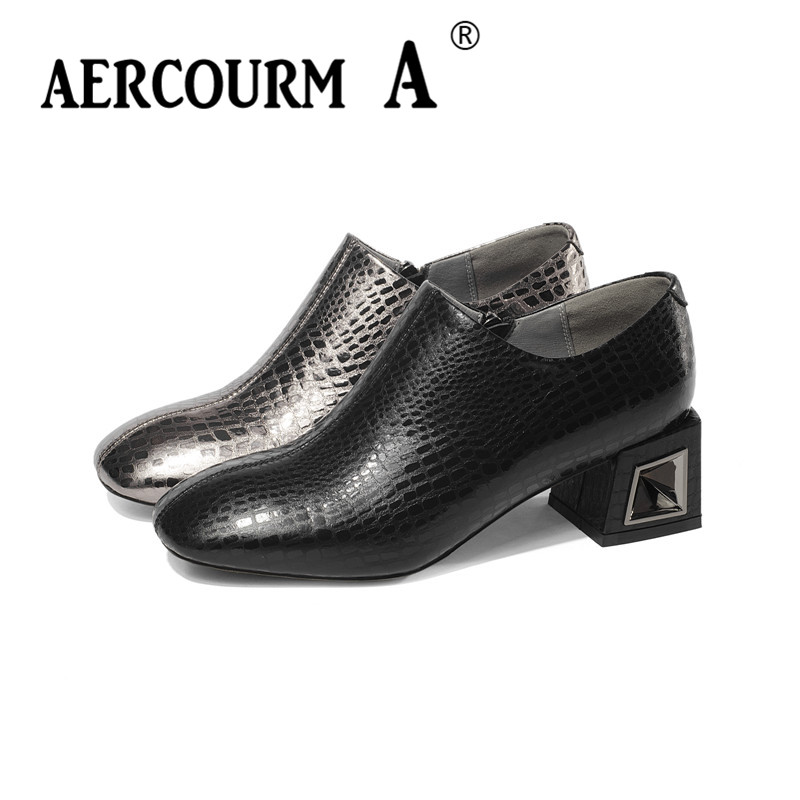 Aercourm A 2019 Female Genuine Leather Croc Shoes Ladies Slip-on Solid Shoes Square Heel Women Square Toe Pumps Black Zip Shoes aercourm a 2018 women black fashion shoes female bright genuine leather shoes pearl high heel pumps bow brand new shoes z333