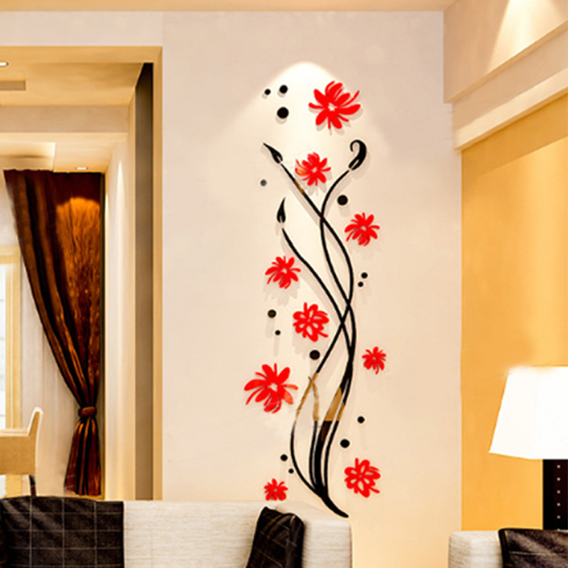Orchid Crystal Acrylic 3D Wall Sticker Entrance Room Bedroom Hall Corridor Aisle TV Wall Decoration αυτοκολλητα τοιχου καθρεπτησ