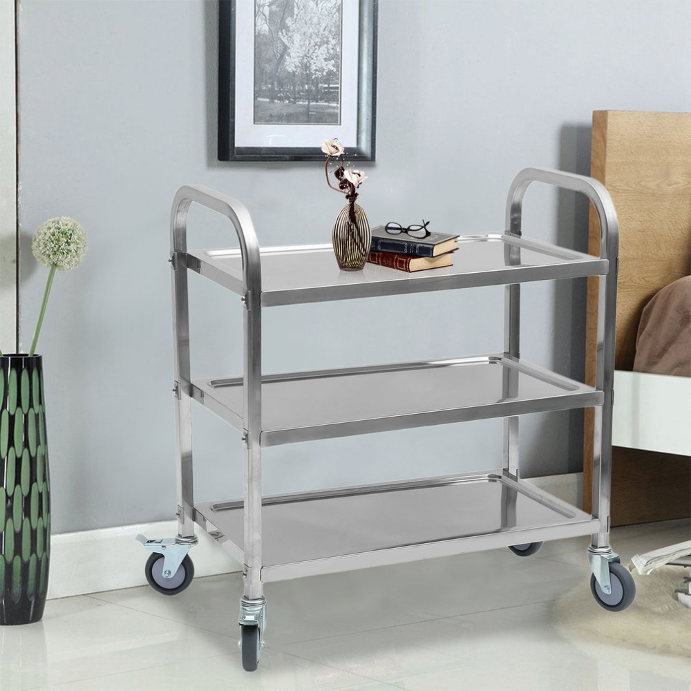 85x45x90cm Kitchen Serving Trolley Cart Sturdy 3-Tiers Stainless Steel Organizer Container Rolling Trolley Storage Cart newest stainless steel kitchen trolley universal 75x40x83 5cm transport trolley space saving storage rack kitchen storage cart