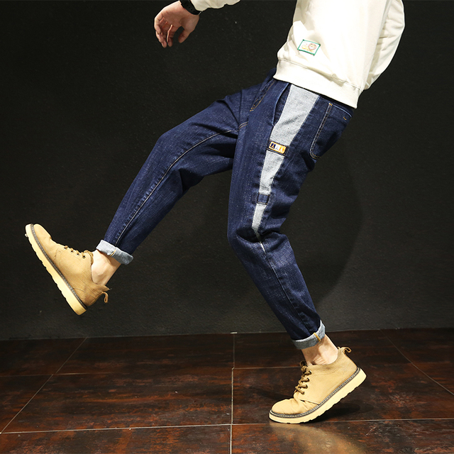 2018 Sale high quality summer loose harem pants jeans men Korean fashion denim trousers Janpan style patchwork male plus size