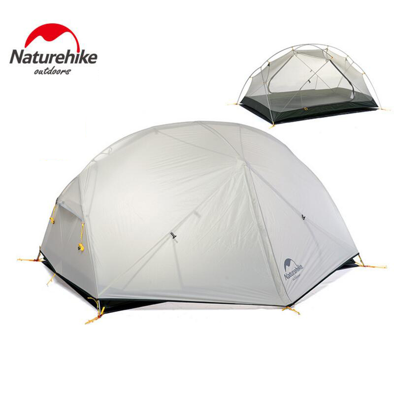 Naturehike Ultralight Tent 2 Person 20D Silicone Waterproof Double Layer Fishing Beach Hiking Tents Outdoor Camping Tourism Tent 2017 dhl free shipping naturehike 2 person tent ultralight 20d silicone fabric tents double layer camping tent outdoor tent