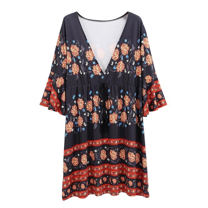 Лето 2019 г. для женщин пляжное платье Sexy Глубокий V образным вырезом рукав три четверти, мини платья для повседневное цветочный принт Boho Feminino ...