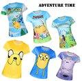 2017 Adventure Time Dos Desenhos Animados 3D Estilo Harajuku Impresso T camisas de Manga Curta Elástica Bonito Da Menina Da Aptidão T-shirt Das Mulheres Topos