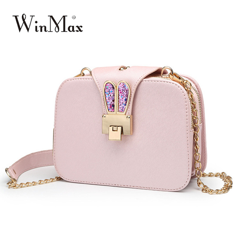 Winmax Factory Women fashion shoulder bags Female Chain Strap Ladies Handbags Rabbit Ears Girls Clutch Crossbody Messenger Bags