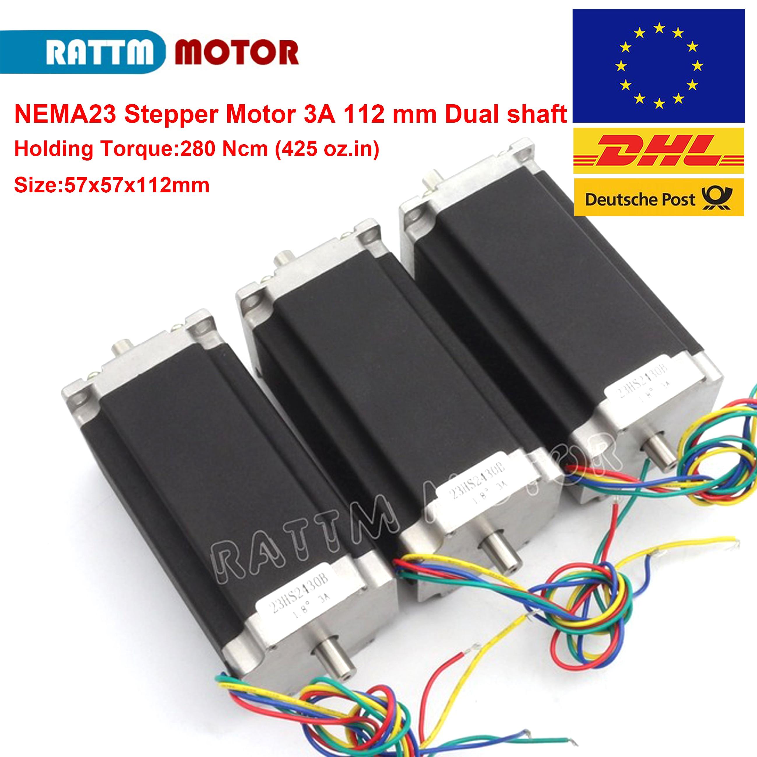 3pcs Nema 23 stepper motor Dual shaft 57x112mm 2.8N.cm 425 Oz-in 4 wires 3A for 3D printer parts CNC engraving machine 23HS2430B