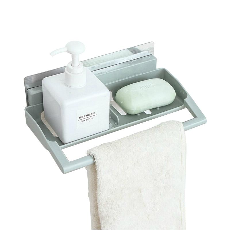 Multifunction Soap Box Holder Towel Wall Mount Bathroom Storage Shelves Racks kitchen Sponge Drain Holder Accessories Supplies