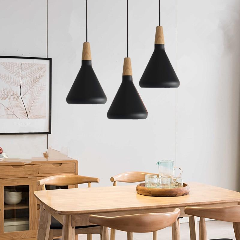 Black Pendant Light Kitchen Wood Lighting Bar Modern Ceiling Lamp Bedroom Contemporary Lights Home Indoor Lights Bulb For Free Pendant Lights Aliexpress
