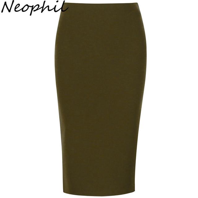 Neophil 2017 Sexy do Verão Senhoras Chiffon Saias Lápis Midi Alta Stretch cintura Magro Ocasional Rosa Preto Escritório Desgaste do Trabalho Saia S1022