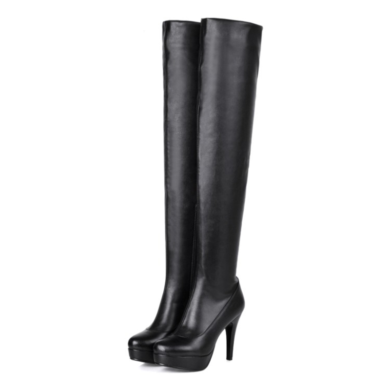 ФОТО Women's leather over the knee high boots High-heel shoes Round head Knight boots Side zipper platform plus size Black size34~43