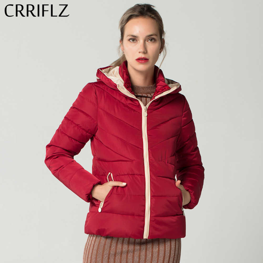 CRRIFLZ 2018 New Autumn Winter Collection Causal Slim Short Coat Girls Hooded Cotton Padded Jacket Coat Female   Parkas   Outwear