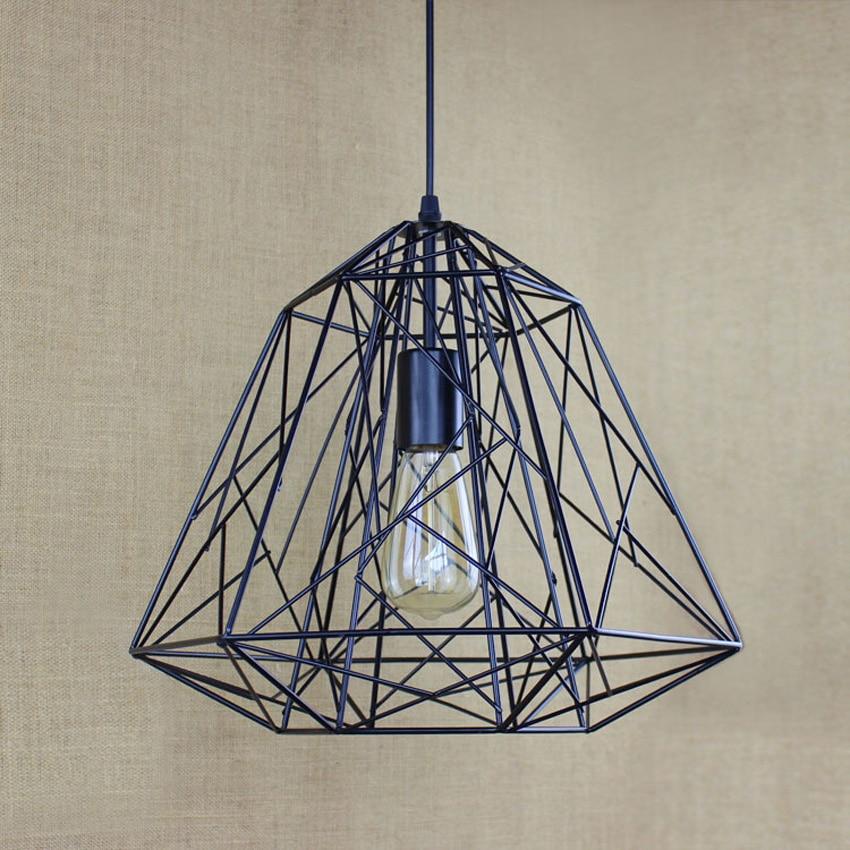 Industrial loft style iron net Vintage pendant lights,37*32cm wrought Iron Diamond shape Bird Cage lampshade droplight lighting книги эксмо изучаю мир вокруг для детей 6 7 лет