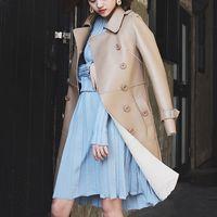 2018, новая мода элегантный женские пояса двубортный длинные пальто отложной воротник пояса из натуральной кожи овчины осень Multi цвет