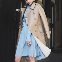 2018 New Fashion Elegant Womens Sashes Double Breasted Long Coats Turn Down Collar Genuine Leather Sheepskin Autumn Multi Color