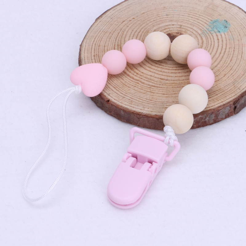 Wooden Bead Dummy Clip Holder Pacifier Clips Soother Chains Holders Accessories
