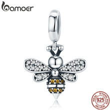 BAMOER 925 Sterling Silver Crystal Bee Luminous CZ Crystal Charm fit Women Charm Bracelets DIY Jewelry Girlfriend Gift SCC821(China)