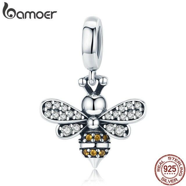 30200a3e5 BAMOER 925 Sterling Silver Crystal Bee Luminous CZ Crystal Charm fit Women  Charm Bracelets DIY Jewelry Girlfriend Gift SCC821