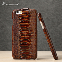 Fierre Shann Luxury Genuine Leather Brand Phone Case Coque For Iphone 6 6 Plus 7 7