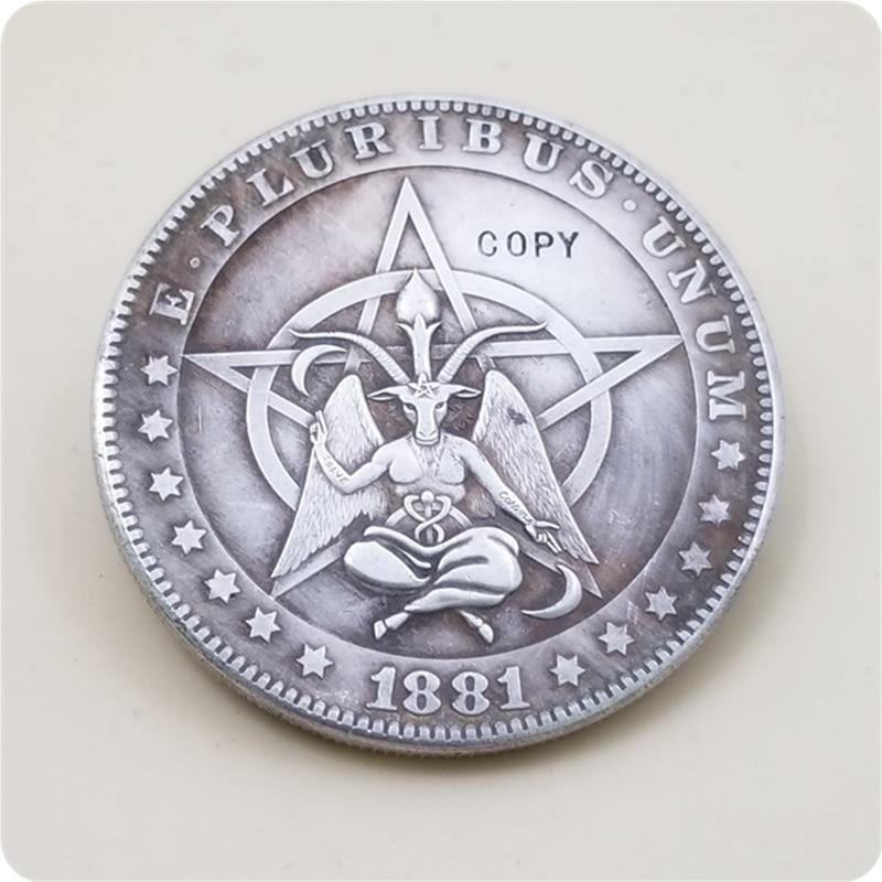 Тип # 4_Hobo Никель монета 1881-CC Морган копия доллара Золотая монета бесплатная доставка
