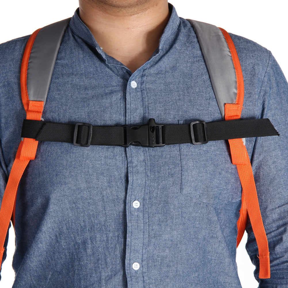 NEW Adjustable Nylon Webbing Sternum Strap Buckle Lightweight Backpack Chest Harness Open Clip Loop with Whistle