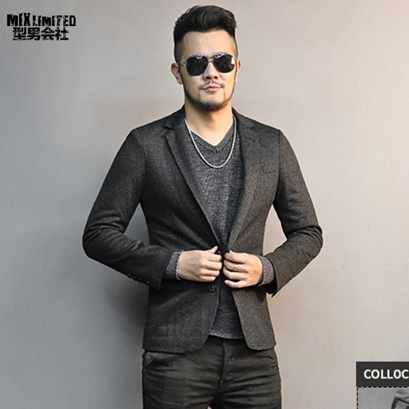 Autumn Winter New Woolen Slim Casual Men Black Striped Suit Business Gentleman British Style Brand Suit For Men Wedding Blazer