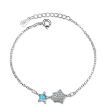 TJP Latest Girls 925 Sterling Silver Bracelet Jewelry Charm Cubic Zirconia Blue Star For Women Accessories Female Bijou