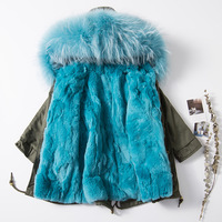 Зимняя Детская куртка с воротником из меха енота с кроличьими волосами хлопковая куртка с капюшоном для девочек и мальчиков детское плотно