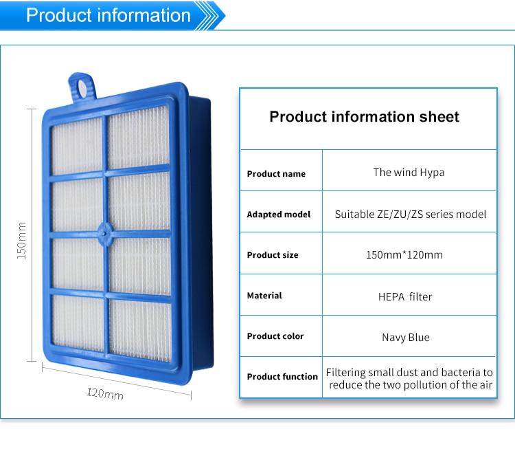 1 шт. 150*120 мм размер белый hepa фильтр для пылесоса аксессуары и части фильтра ZE/Zu /ZS серии