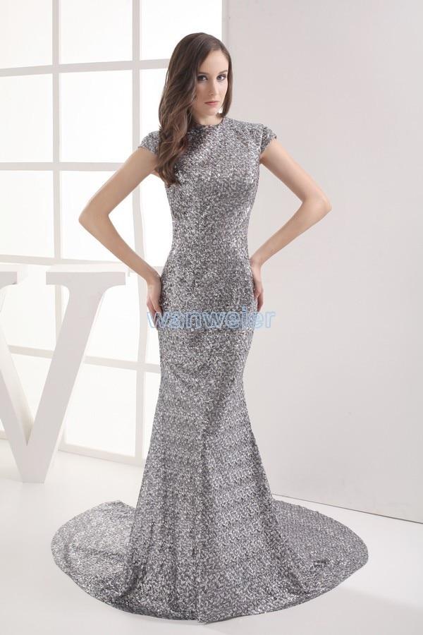 Livraison gratuite argent 2013 vestidos formales nouveau design paillette épouses sexy robe demoiselle maxi personnalisé longue robe robes de bal