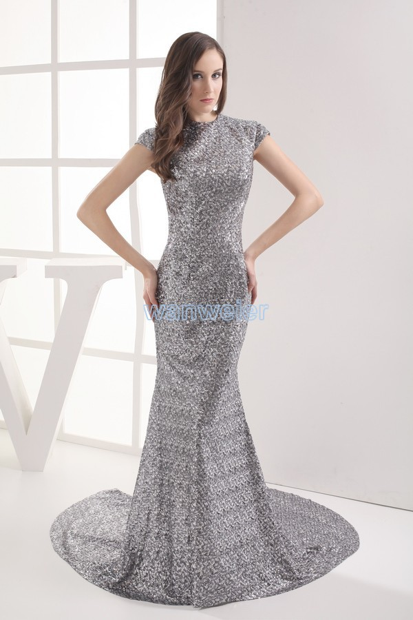 free shipping silver 2013 vestidos formales new design paillette sexy brides maid   dress   customized maxi long gown   prom     Dresses