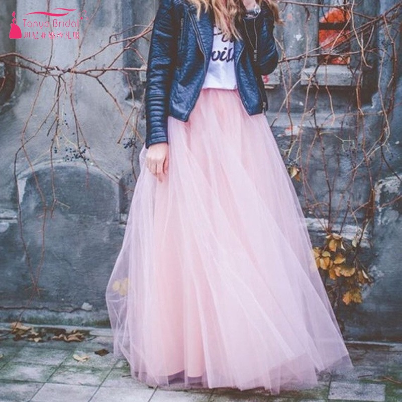Soft Tulle Maxi Long Tutu Dress Ladies Gown Wedding Guest Dresses Bridesmaids Gowns In Stock 7 layers 100cm Length Платье