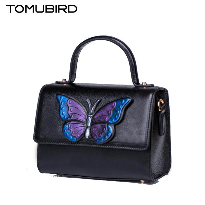 2017 New TOMUBIRD luxury handbags women bags designer women genuine leather bag butterfly embossing fashion tote women handbags купить