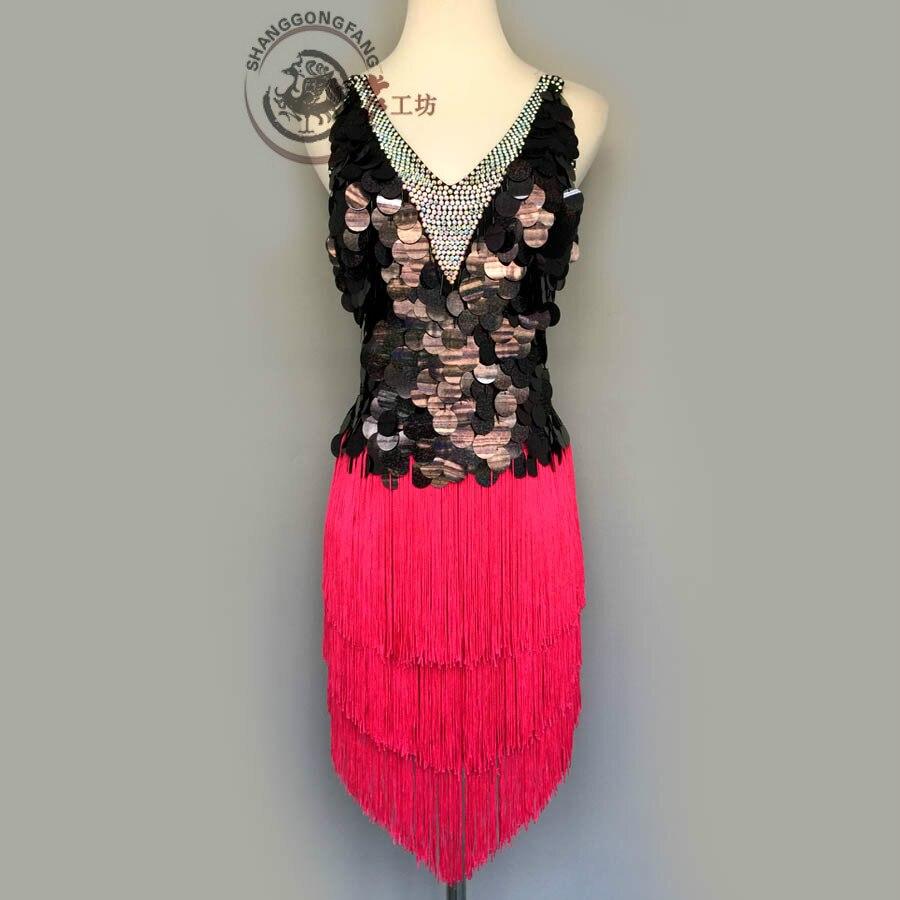 New Style Latin Dance Costume Sexy Sequins Tassel Latin