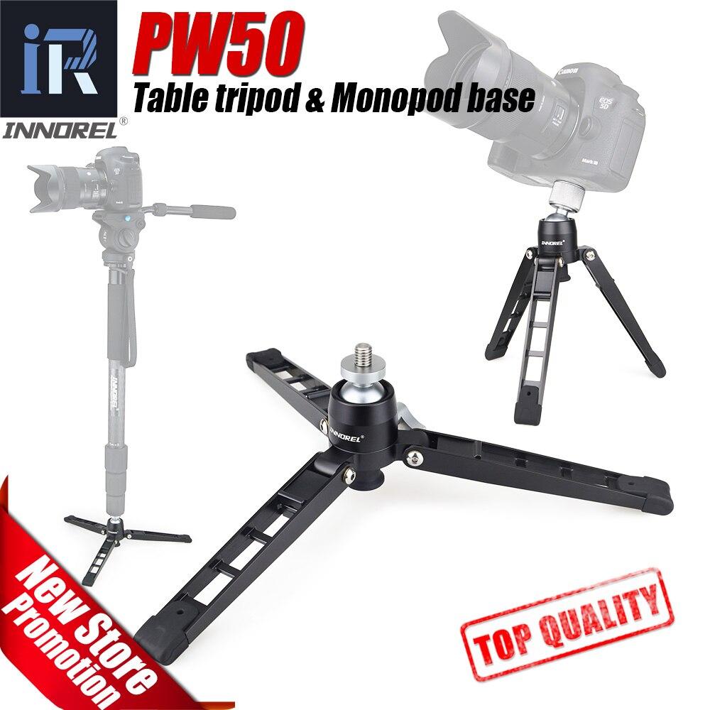 PW50 mini trépied Universel Mini Trois Pieds Support Trépied Stand Base Monopode Stand pour monopode rotule avec 3/8 vis adaptateur