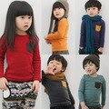 2016 новых детских длинным рукавом футболки мальчики и девочки твердые конфеты цвета оказать одежды с карманными 100% хлопок, C227