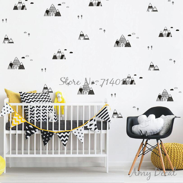 mountain tree cloud wall stickers scandinavian style wall decals