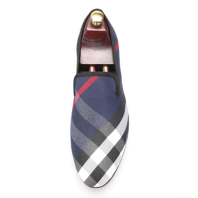 Piergitar Blue and white plaid canvas shoes luxurious brand men loafers black pig leather insole men 's casual shoes men's flats