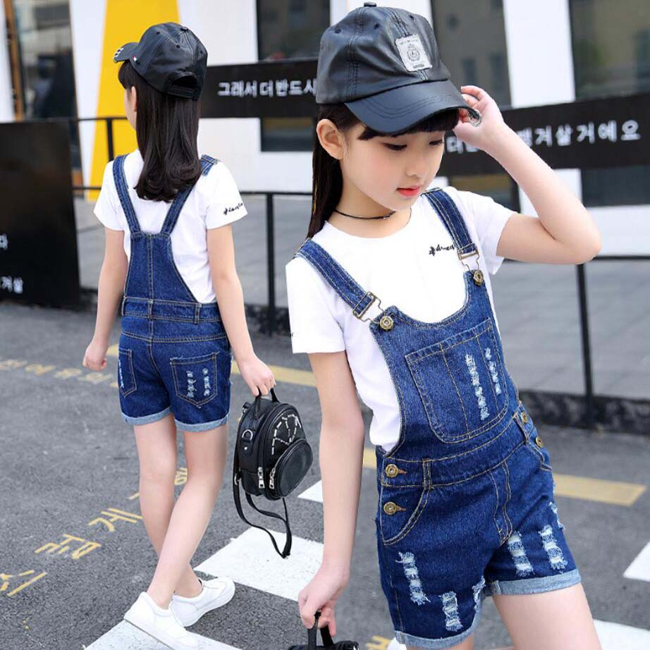 4-15 Y Girls Denim Overalls Spring Summer Fashion New Children Clothing Casual Kids Suspender Trousers Solid Girls Short Jeans