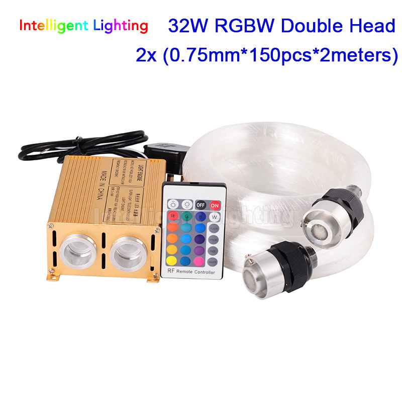 32W RGBW Double Head light engine 2x (0.75mm*150pcs*2m)/2x (0.75mm*200pcs*2m) LED Fiber optic light Star Ceiling Kit 2016 newest touching panel controller 16w rgbw led optic fiber light engine 150pcs 0 75mm 2meter optic fiber diy light