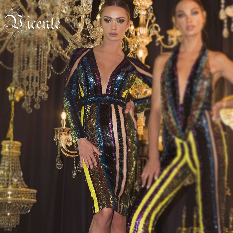 Vicente 2019 New Trendy Multi Color Striped Sequins Design Sexy V Neck Long Sleeves Celebrity Party