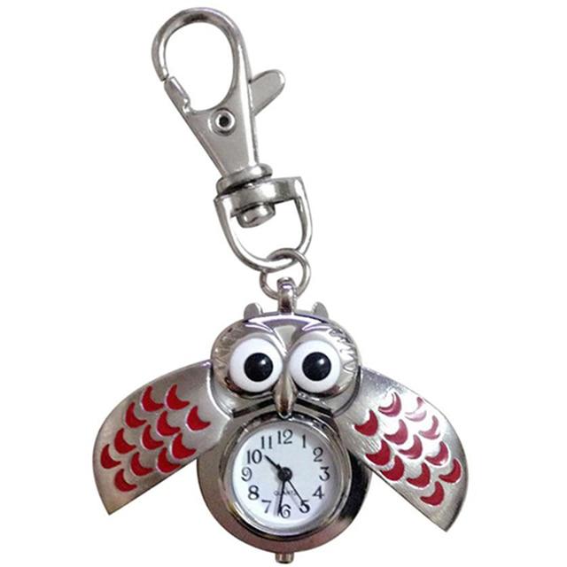 Fashion Owl Pocket Watch Women Cute Keychain Watch Ladies Womens Quartz Watch Fe
