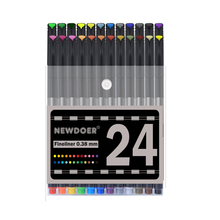 24 Fineliner Color Pen Set,Fineliner Pens Bullet Journal Pens Black 0.38mm Colored Fine Line Sketch Drawing Writing Pen pentel cartoons sketch pen jm20 ash drawing pen draft line pen