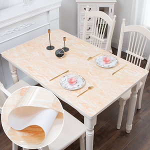 Image 1 - Mantel de mármol de imitación nórdico de vidrio suave PVC impermeable a prueba de aceite para mesa de fiesta de boda almohadilla de Decoración de mesa hecha a medida