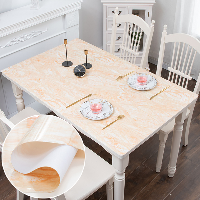 Nordic imitation marble tablecloth soft glass PVC waterproof oilproof table mat party wedding table decoration pad custom made