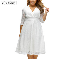 New Hot 2017 Big Size Summer Party Plus Size Autumn Dress Hollow Out Full Figured Womens