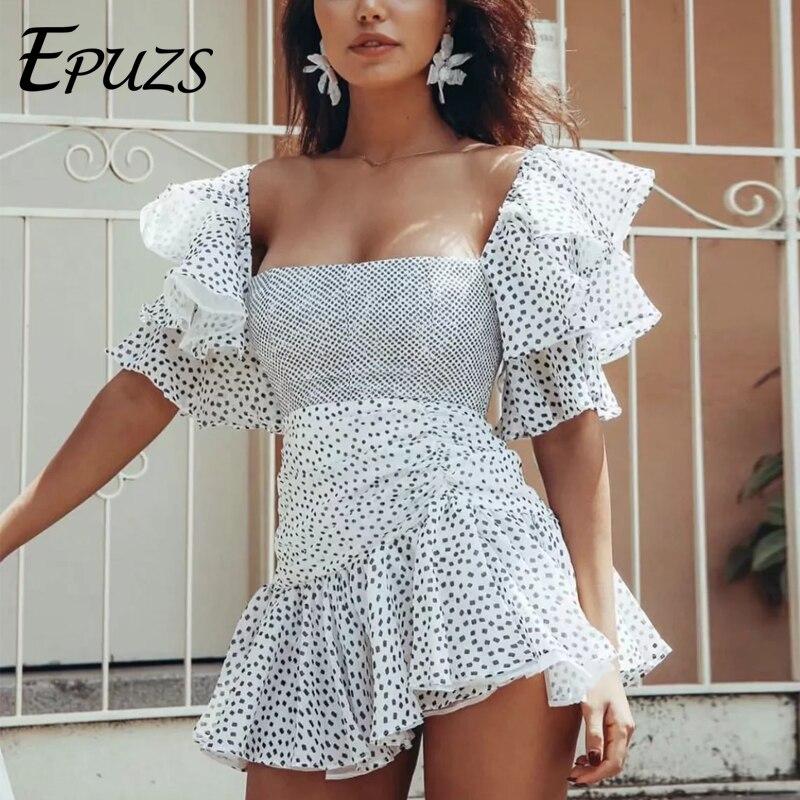 Sexy dos nu noir à pois robe de soirée femmes été élégant mini vestidos coréen vintage papillon manches blanc robe de plage