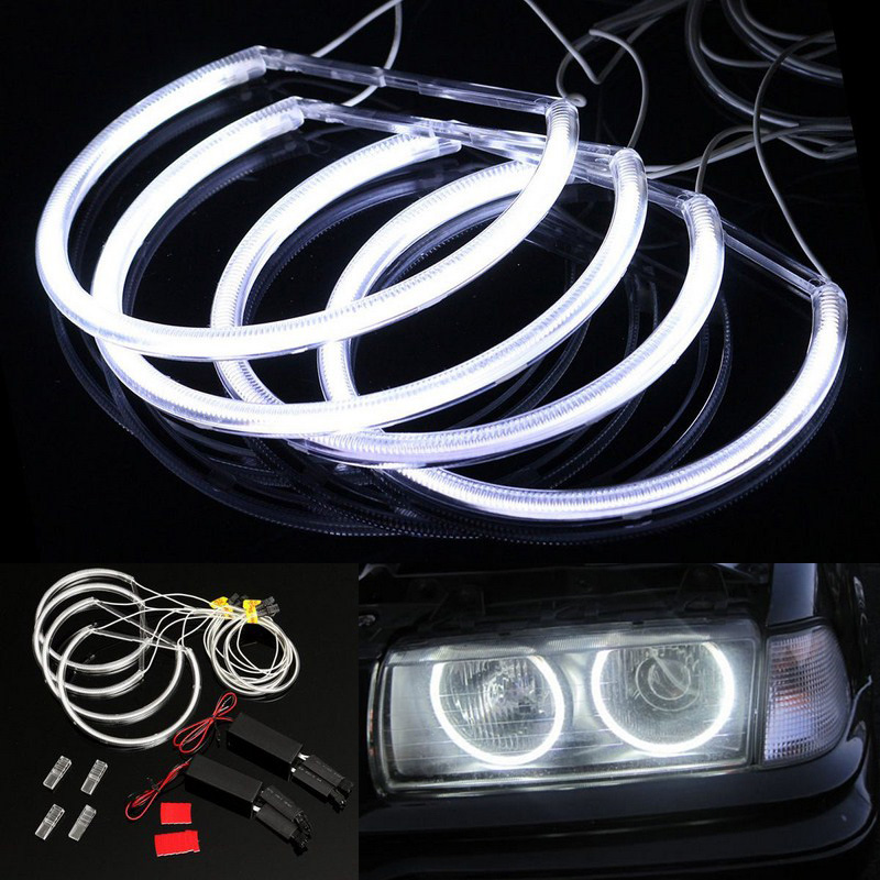 4x 131mm 146mm CCFL Angel Eye Halo Rings LED Light Set White Non-Projector For BMW E46 3 Series High brightness efficiency (13)