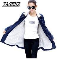 2018 Winter New Women Lambswool Jean Coat Jackets Large size Slim Warm Denim Outerwear Single breasted Jeans Jacket Female S 5XL
