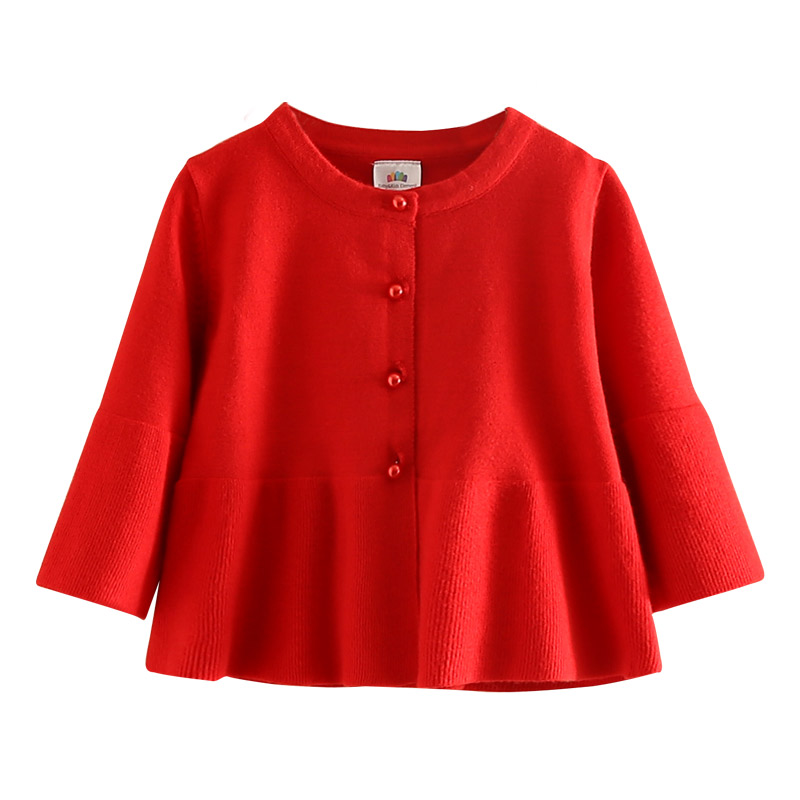 Candy Color Baby Girls Sweater Cardigan Children Knitted Jacket Round Neck Wool Long Sleeve Girls Top Knitwear Sweaters Cardigan graceful v neck long sleeve solid color slimming women s bolero cardigan