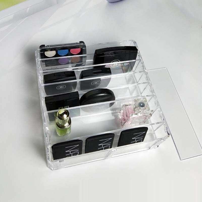 מתלה לק אקריליק שקיפות 8 חריצים להציג מחזה אבקת מדף קוסמטי תיבת איפור mac קופסא תכשיטי שפתון