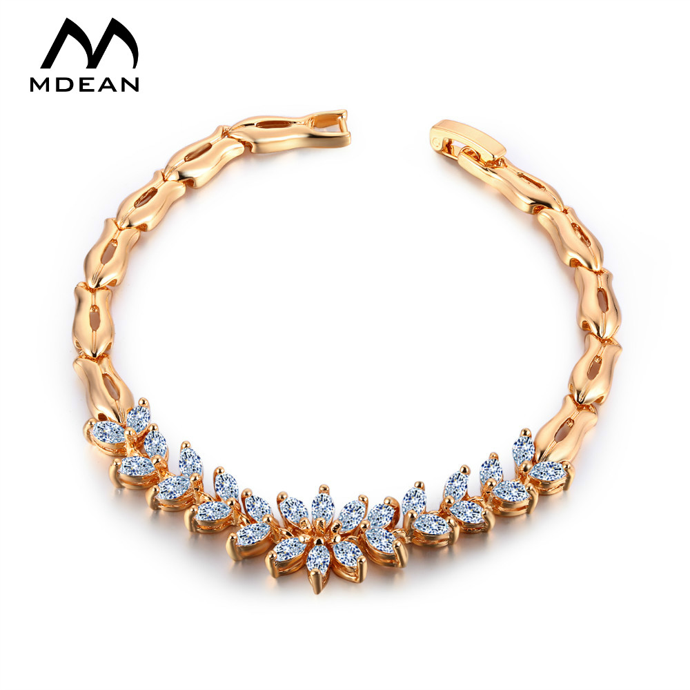 MDEAN Women Bracelet White Gold Color Chain Beads ...